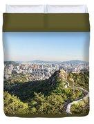 Seoul City Wall From Inwangsan Mountain In South Korea Capital C Duvet Cover
