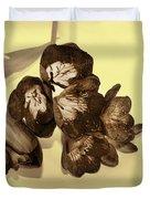Sepia Flowers Duvet Cover