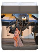Sexy 1940s Pin-up Girl In Lingerie Duvet Cover