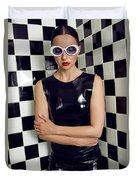 Sexy Woman In Latex Bath Duvet Cover