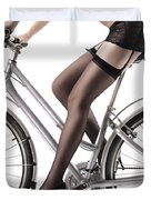 Sexy Woman Riding A Bike Duvet Cover by Oleksiy Maksymenko