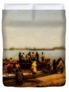 Shad Fishing On The Delaware River Duvet Cover