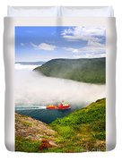 Ship Entering The Narrows Of St John's Duvet Cover