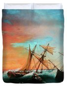 Ships In A Storm At Sunset Duvet Cover