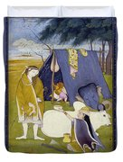 Shiva And His Family Duvet Cover