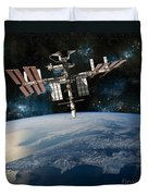 Shuttle Docked At Space Station Duvet Cover