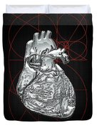 Silver Human Heart On Black Canvas Duvet Cover
