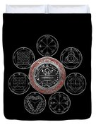 Silver Seal Of Solomon Over Seven Pentacles Of Saturn On Black Canvas  Duvet Cover
