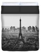 Skyline Of Paris In Black And White Duvet Cover