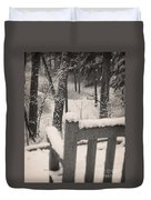 Snow Covered Benches Duvet Cover