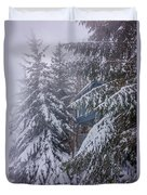 Snow Covered Trees In The North Carolina Mountains During Winter Duvet Cover