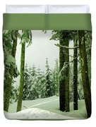 Snow In The Forest Duvet Cover