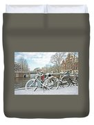 snowy Amsterdam in the Netherlands Duvet Cover