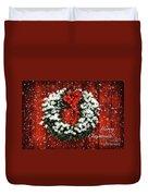 Snowy Christmas Wreath Card Duvet Cover