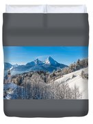 Snowy Church In The Bavarian Alps In Winter Duvet Cover