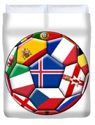 Soccer Ball With Flag Of Iceland In The Center Duvet Cover