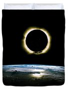 Solar Eclipse From Above The Earth - Infrared View Duvet Cover