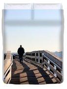 Solitary Man Walks Duvet Cover