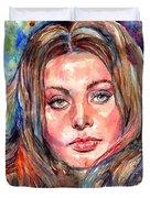 Sophia Loren Painting Duvet Cover