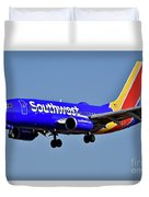 Southwest Airlines Airplane In Flight Duvet Cover