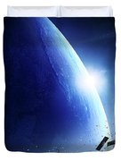 Space Junk Orbiting Earth Duvet Cover