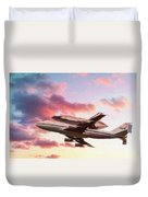 Space Shuttle Discovery Flies Off Into Retirement Duvet Cover