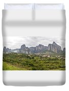 Spectacular Meteora Rock Formations Duvet Cover
