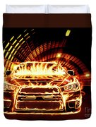 Sports Car In Flames Duvet Cover