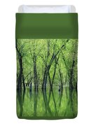 Spring Green Reflections  Duvet Cover by Lori Frisch