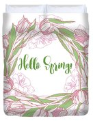 Spring  Wreath With Pink White Tulips Duvet Cover