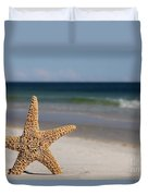 Starfish Standing On The Beach Duvet Cover