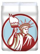 Statue Of Liberty Holding Flaming Torch Circle Retro Duvet Cover