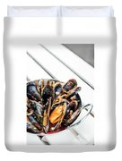 Stewed Fresh Mussels In Spicy Garlic Wine Seafood Sauce Duvet Cover