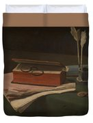 Still Life With Book Papers And Inkwell Duvet Cover