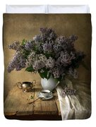 Still Life With Bouquet Of Fresh Lilacs Duvet Cover
