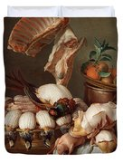 Still Life With Dressed Game, Meat And Fruit Duvet Cover