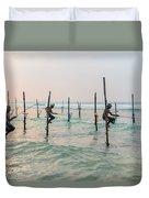 Stilt Fishermen - Sri Lanka Duvet Cover