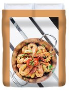 Stir Fry Prawns In Spicy Asian Pineapple And Herbs Sauce Duvet Cover