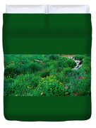 Stream And Alpine Flowers, Ouray Duvet Cover