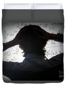 Student Holding His Head Looking At Complex Math Formulas On Whiteboard Duvet Cover