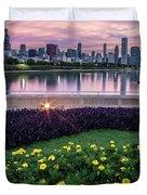 summer flowers and Chicago skyline Duvet Cover