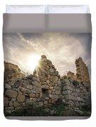 Sun Shining Through A Derelict Building At Occi In Corsica Duvet Cover