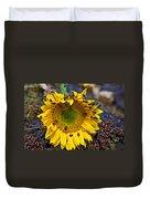 Sunflower Covered In Ladybugs Duvet Cover