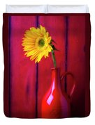 Sunflower In Red Pitcher Duvet Cover