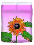 Illustration Of A Sunflower On A Pink Background Duvet Cover