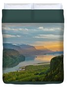 Sunrise At Columbia River Gorge Duvet Cover