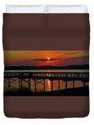 Sunrise Over The Pier Duvet Cover