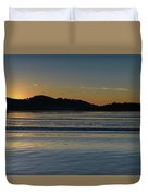 Sunrise Waterscape And Silhouettes Duvet Cover
