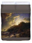 Sunset After A Storm On The Coast Of Sicily Duvet Cover