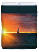 Sunset And Lighthouse Duvet Cover